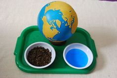Materials needed: toy airplane, sandpaper globe, bowl or water and earth, tray.