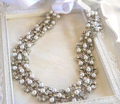Bridal Pearl Rhinestone Sash Belt or Headband  by LottieDaDesigns, $110.00
