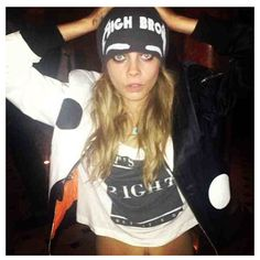Cara Delevingne in It's Not Right Cropped Women's Tee.