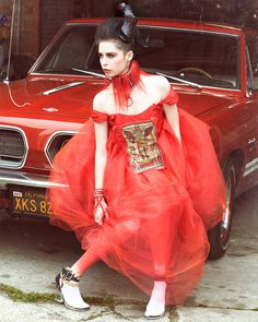 Le Diable Rouge Dress by Papusza Couture Size by PapuszaCouture, $395.00  PHOTO CREDITS:  Photographer: Sean Murdock Model: Vera Gushanksky MUA: Lauren Warner Hair and Horns: Celia Racicot Collar and Cuffs: Surrender Love Letter Ankle Jewelry: Mad Elegance
