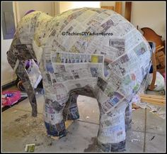 Tutorial on how to make paper mache elephant (almost life size) - Techie's DIY Adventures Making Paper Mache, Paper Mache Clay, Paper Mache Sculpture, How To Paper Mache, Cardboard Animals, Paper Mache Animals, Safari Party, Safari Theme, Diy Paper