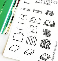 """Splendid Scribbles on Instagram: """"Here's a little guide on how to doodle books, these look so cute drawn over 'books I want to read' pages in your bujo or planner. Tag me in…"""" #bulletjournal Bullet Journal Headers, Bullet Journal 2019, Bullet Journal Notebook, Bullet Journal Ideas Pages, Bullet Journal Inspiration, Book Journal, Books To Read Bullet Journal, Bullet Journals, Doodle Books"""