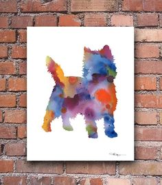 Cairn Terrier Art Print Abstract Watercolor by 1GalleryAbove