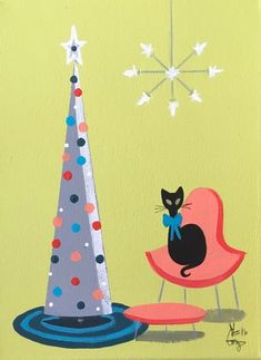 EL GATO GOMEZ HOLIDAY CHRISTMAS TREE VINTAGE BLACK CAT MID CENTURY MODERN EAMES #Modernism