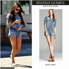 celebrity denim jumpsuit | ... in blue denim romper by Joes Jeans Want Her Style Celebrity Fashion