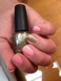 Wedding Nails OPI's Italian Love Affair with an accent nail of gold glitter with a pink heart
