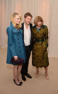 Emma Stone, Burberry CCO Christopher Bailey and Vogue Editor-in-Chief Anna Wintour attend The Ninth Annual CFDA/Vogue Fashion Fund Awards