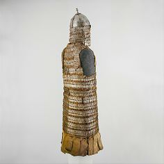 Tibetan lamellar armor and helmet, possibly 16th–17th c. the body of these armors are usually a sleeveless robe made from twelve to fourteen or more rows of lamellae, and the coat has a distinct waist, with the lamellae of that row being bent in a subtle curve. Equally distinctive helmets were made to match the armors and are likewise associated only with Tibet or the Tibetan cultural region. Like the armors, this type of helmet is constructed of iron plates joined by leather laces. Met…