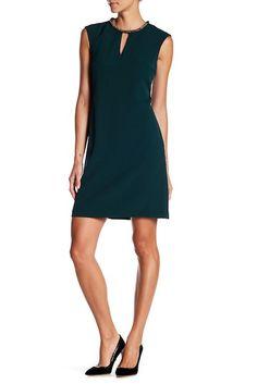 Image of Donna Ricco Embellished Collar Dress