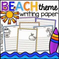 FREE beach theme writing papers with cute prompts to match! 2nd Grade Writing, Kindergarten Writing, Teaching Writing, Teaching Tools, Teaching English, Teaching Phonics, Teaching Ideas, School Themes, Classroom Themes