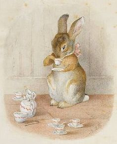 by Beatrix Potter. I adore these precious Beatrix Potter characters! Art And Illustration, Rabbit Illustration, Beatrix Potter Illustrations, Book Illustrations, Beatrice Potter, Peter Rabbit And Friends, Drinking Tea, Sipping Tea, Urban Art