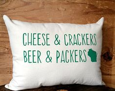 Green Bay Packers Pillow / Cheese, Cheesehead, Wisconsin, Beer