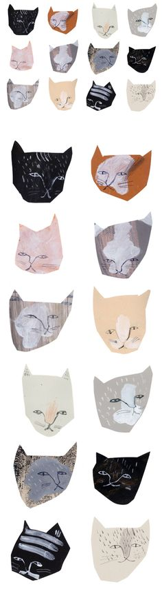 Illustration by Claire Softly. What inspires me about this illustration is the physicality of it and how it looks like it uses artistic materials. Illustrations don't have to be neat and tidy all the time. In fact, the grittyness and oddness of these cats makes them even more intriguing.