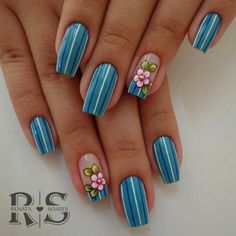 New Ideas Gel Manicure Diy Summer 2015 Daisy Nails, Flower Nails, Blue Nails, Acrylic Nail Shapes, Acrylic Nail Designs, Acrylic Nails, Beautiful Nail Art, Gorgeous Nails, Pretty Nails