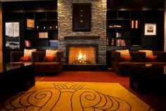 fireplace with bookcase - Google Search