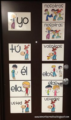 Put the subject pronouns on your classroom door: https://www.teacherspayteachers.com/Product/Teaching-Subject-Pronouns-with-Pictures-73525