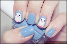 cute penguin nail art via http://www.hawaiikawaii.net