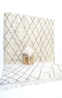 """BENI OURAIN 13'9"""" x 9' Linear Tasseled Moroccan Rug Tapis Contemporary Modern Le Corbusier Eames Lloyd Wright"""