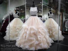 Nude High Neckline Two Piece Ball Gown Prom Dress