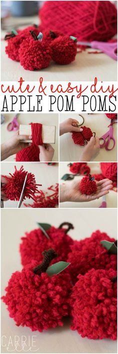 DIY Teacher Gift Ideas: Apple Pom Poms (these are so easy and SO adorable). Get the full tutorial and lots of ideas for how to use them!