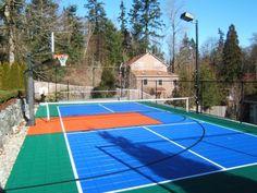 Backyard Sport Court Ideas green and blue backyard basketball court Backyard Sport Court Ideas Home And Garden Design Ideas