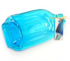Recycled gin bottle spoon rest Bombay Saphire by KilnFiredArt, £10.00