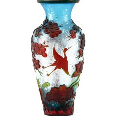 Antique Chinese Peking Glass Cameo Vase With Trees and Cranes In Flight in High Relief On Blue Iridescent Textured Ground With Silver Flecks; Truly Magnificent