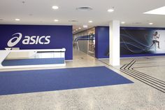 THERE Design  Environmental graphics- Reception  http://there.com.au/work/Asics_Office