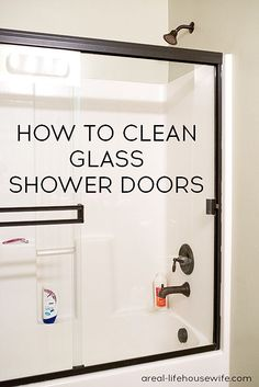 I have two great tips for how to clean glass shower doors. All you'll need to get the doors sparkly clean are a pair of old pantyhose and a Magic Eraser!