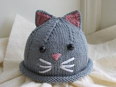 Kitty Cat Baby Hat and Booties Set. $30.00, via Etsy.