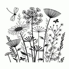 Crafty Individuals CI-385 - 'Summer Meadow' Art Rubber Stamp, 90mm x 82mm: