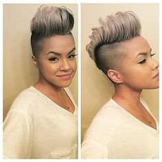 Shaved Pixie Cut 2018 Short hairstyles are in trends for contempo year and abounding women including celebs action altered short haircuts gradually. Short Black Hairstyles, Pixie Hairstyles, Short Hair Cuts, Short Hair Styles, Pixie Haircuts, Shaved Hairstyles, Womens Mohawk Hairstyles, Relaxed Hairstyles, Mohawk Styles