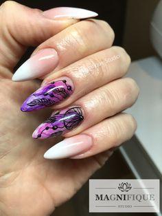 Babyboomer ,Blur Effect, Traumfänger Nägel, Nails mit Federn. Stiletto Nails, Gel Nails, Acrylic Nails, French Nails, Autumn Nails, Nagel Gel, Flower Nails, Cool Nail Designs, Nail Tutorials