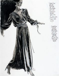 Jim Howard illustration of Geoffrey Beene Evening dress for Bonwit Teller. 1978