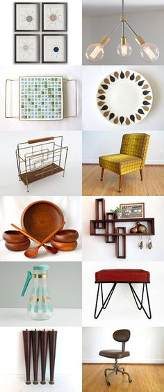 Make Mine Mid Century Mod by Jeanne on Etsy--Pinned with TreasuryPin.com Mid Century Living Room, Mid Century Decor, Mid Century House, Mid Century Style, Mid Century Design, 50s Furniture, Mid Century Modern Furniture, Space Place, Flat Design
