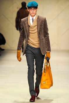 Burberry Prorsum  Fall 2012 (love the sweater layer & the colorful accessories)