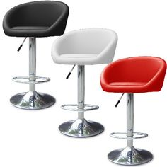 Set of 2 Modern Leather Bombo BarStool Bar stool Swivel Adjustable Swivel Red $120