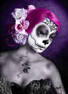 200+ Halloween Looks! Sugar skull makeup by Rebecca Schnell.