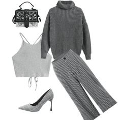 Cool all gray outfit. #gray #monochrome #businessoutfit #party2018 #cool #pants #spring2018 #stylish #styleidea #traveloutfit #shoeslover #sweater2017