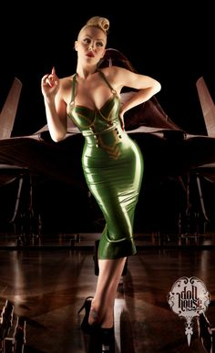 Latex Military High Waist Skirt with kick flare by CherryPopLatex, £96.00