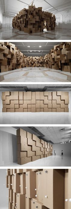 Zimoun: Sound Artist/Sculptor  Clinical use of squares, geometric tesselation and construction of materials.