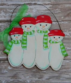 Snowman Family Ornament4 or 5 snowmanpainted by HazelMartinDesigns