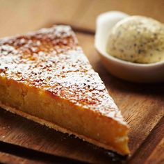 Tom Aikens' Treacle Tart. Golden, chewy and sweet, this classic English dessert is delicious served with a dollop of ice cream.
