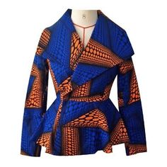 Oversized Collar Ankara Jacket - Blue/Orange African Print Clothing, African Shirts, African Print Dresses, African Print Fashion, Africa Fashion, African Dress, African Attire, African Wear, African Women
