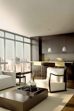 Big windows let the sunshine in and the decor is minimalist but fab. Condo Living, Home And Living, Living Spaces, Living Room, Contemporary Style Homes, Contemporary Design, Modern Design, Condo Design, House Design