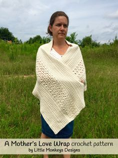 A simple, heirloom or vintage style shoulder wrapper for chilly nights or mornings. This wrap crochet pattern is perfect to make as a gift to a new mother as a nursing shawl or keep for yourself as a beautiful shawl for an evening out. This wrap is crocheted in a vintage, textured and reversible pattern utilizing several different stitch patterns. A shawl crochet pattern for something beyond the usual. Crochet Shawls And Wraps, Crochet Scarves, Crochet Clothes, Crochet Hats, Crochet Sweaters, Crochet Granny, Free Crochet, Crochet Wrap Pattern, Crochet Patterns