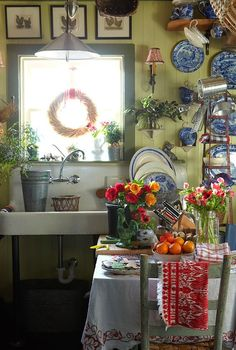 cute French country kitchen full of rustic country charm. it has a lovely country cottage feel with its cut flowers in old jars and primitive chair with chippy worn green paint Boho Kitchen, Kitchen Styling, Kitchen Decor, Eclectic Kitchen, Vintage Kitchen, French Kitchen, Summer Kitchen, Neutral Kitchen, Kitchen Display