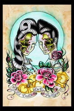 Halloween Tattoo Flash  Til Death Do Us Party  Print by amybird,