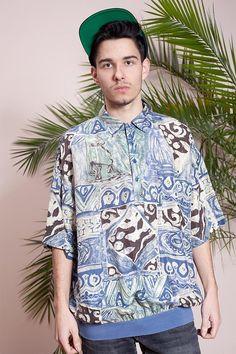 b20869978 Vintage polo tshirt•Mens t-shirt•90s pastel print tshirt•Hipster clothing• 90s Mens polo•Mens 90s tshirt•Vintage clothing•90s polo t-shirt