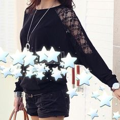Women's Batwing top dolman long sleeve T-Shirt Women's Batwing Top Dolman Long Sleeve Lace Loose T-Shirt Blouse.. Wear once time only.... Tops Tees - Long Sleeve